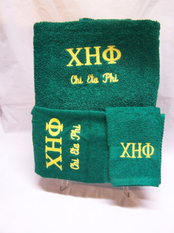 CHI ETA PHI -Nurses Sorority- Embroidered Emerald Green 3 piece Towel Set (Bath, Hand and Wash)/Professional Nurses Sorority