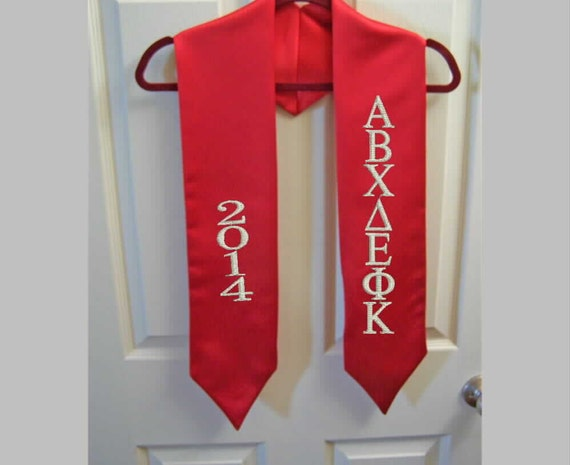 Satin Graduation Stole/Greek Letter Embroidered Graduation Stole/ Red.Royal,Purple,White Satin Stole/Custom Embroidered Stole/Class of 2019