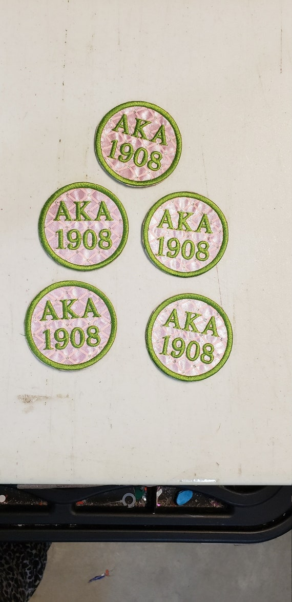 """Pink Bling Alpha Kappa Alpha 1908/AKA 1908/  3"""" round Embroidered Greek Letter Patch/Pink Satin Iron On Patch/Embroidered Sorority Patch"""