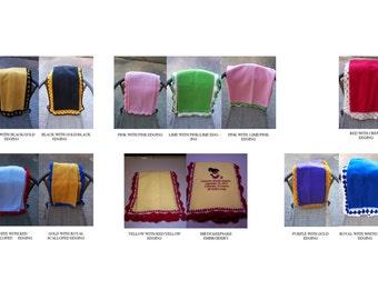 Personalized Crochet Edge Blanket Birth Keepsake Future Sorority or Fraternity