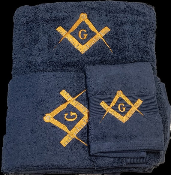 MASON SQUARE 3 pc TOWEL Set/ Gray Towels w Royal Blue Mason Square/Masonic Blue w Gold Embroidery 3 piece Towel Set (Bath, Hand and Wash)