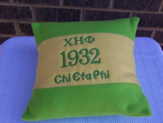"Chi Eta Phi Nurses Sorority Greek Letter 16"" Color Blocked Green & Yellow Pillow"