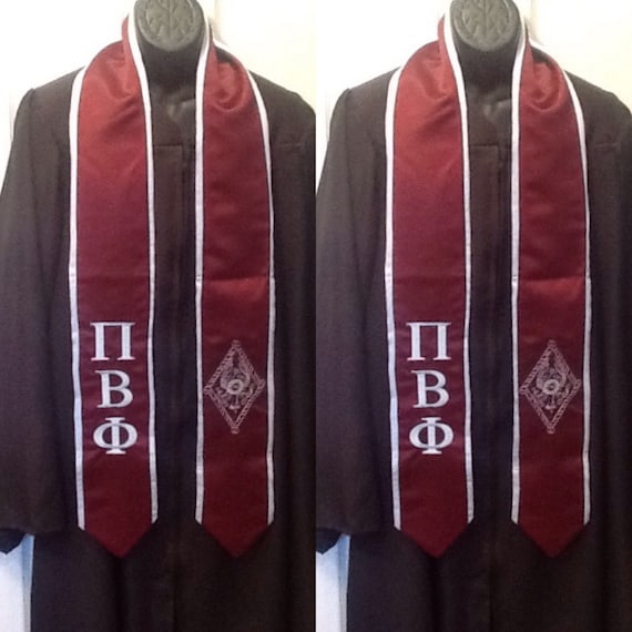 Pi Beta Phi Maroon/Silver Blue Trim Graduation StoleGraduation Gift