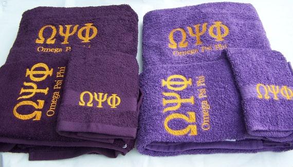 OMEGA PSI PHI Greek Lettered Towel set/3 Piece Embroidered Towel Set/Custom Embroidered Purple Towel Set/Que Towel Set/Purple Que Towels