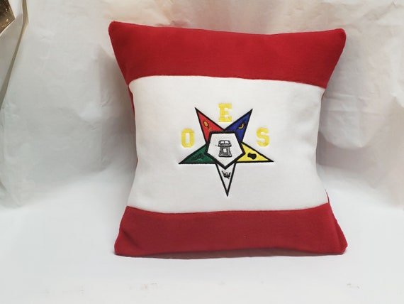 "ORDER of EASTERN STAR Color Blocked Embroidered Pillow/O.E.S. Red embroidered 16"" pillow/Eastern Star Embroidered Pillow/O.E.S. Pillow Decor"