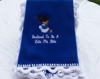 Destined to be a Zeta Phi Beta  Royal Blue Fleece Blanket w/White Scalloped crochet edge