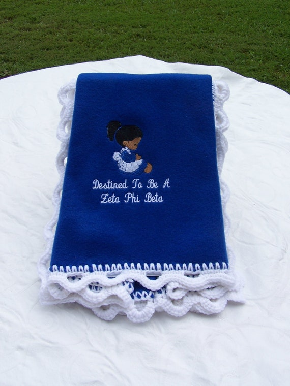 Destined to be a Zeta Phi Beta  Royal Blue Fleece Blanket w/White Scalloped crochet edge
