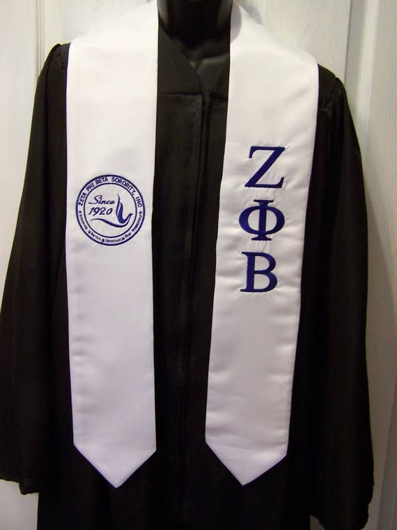 ZETA PHI BETA stole/Royal Blue or White Stole-zpb sash w Dove Seal or Shield/ Satin Grad Stole-Greek Letter Embroidery Class of 2020 stole