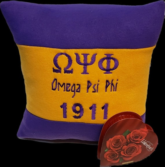 """OMEGA PSI PHI 16"""" Greek Letter Embroidered Purple & Gold Pillow w Valentine's Candy"""