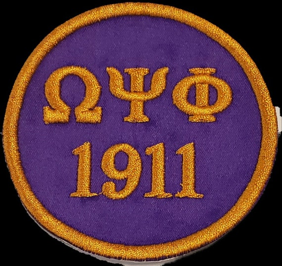 "OMEGA  PSI PHI 1911 Purple Patch 3""inch round /Purple Satin w Gold Embroidery/Iron On PatchPurple/Gold Embroidered Round Iron/Sew On Patch"