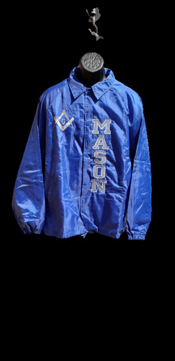XLg MASON SQUARE Nylon Windbreaker Jacket/Embroidered Masonic Royal Blue Jacket Gray Embroidery/Mason Embroidered Jacket Gray Vertical Emb