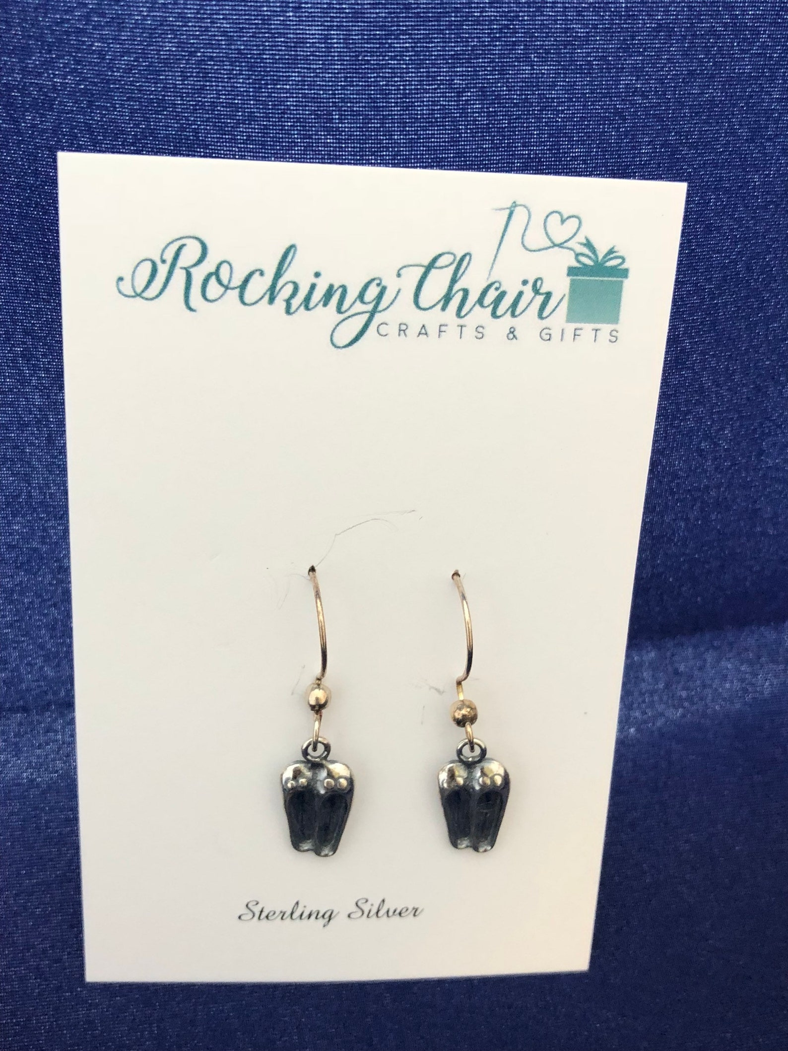sterling silver ballet shoes earrings