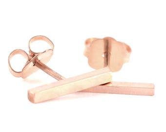 Skinny Rose Gold Bar Stud | 14k Gold Fill Minimal Stud Earring | Minimalist Gift | Role Gold Line Tiny Earring
