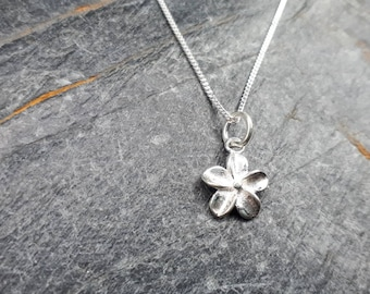 106c1035c Sterling Silver Flower Necklace/Forgetmenot Flower Charm Necklace/Silver  Flower/Silver Flower Charm/Flower Pendant Necklace/Forget me not