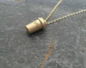 Coffee Cup Necklace/Coffee Cup Pendant/Coffee Jewellery/Tiny Coffee Cup/Cafe/Caffeine New York Jewellery/New York Necklace/Coffee Addict
