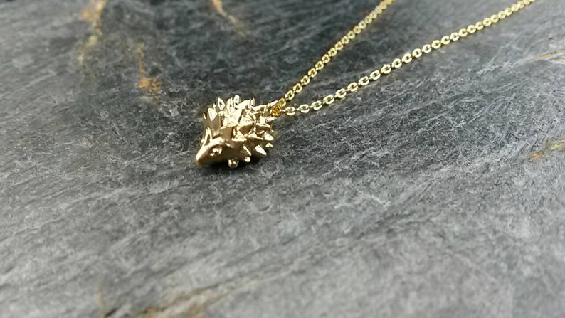 """Hedgehog /& Flower Pendant With 18/"""" Silver Plated Necklace"""