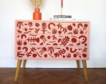 Hand Painted Mid Century Blush Pink & Rust Chest of Drawers