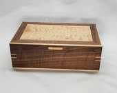 Handcrafted display box, wooden box, walnut and curly maple