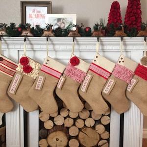 Purple Christmas Stocking Farmhouse Christmas Handmade Christmas Stockings Recycled Chenille Bedspread