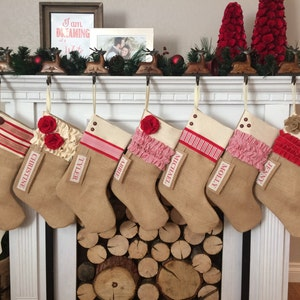 Choose from 6 Different Styles Personalized Christmas Stocking in Red Burlap Cotton White Quilted