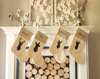 personalized rustic chic deer family stockings set of 4 silhouette deer family rustic christmas antler neutral stocking - Rustic Christmas Stockings