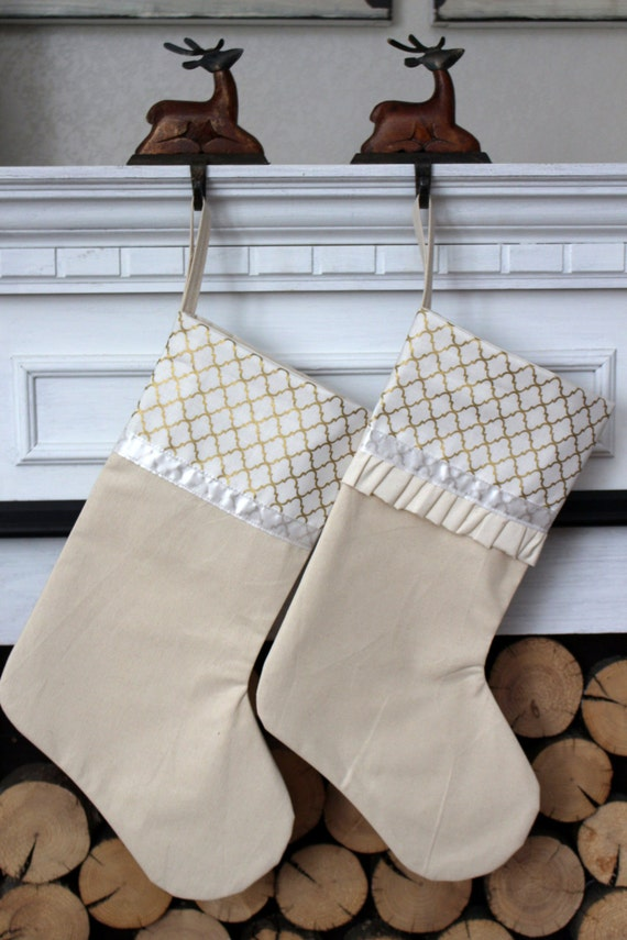 Gold And White Christmas Stocking Sparkly Christmas Stocking Etsy