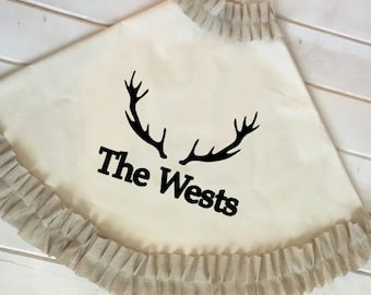 Personalized Canvas Tree Skirt with Antlers / Beige Cream, Red Ruffle or striped Trim / Lined christmas tree skirt / Ruffle christmas skirt