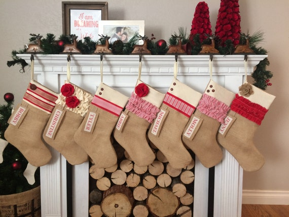 Custom Christmas Stocking: Farmhouse Christmas Rustic Burlap | Etsy