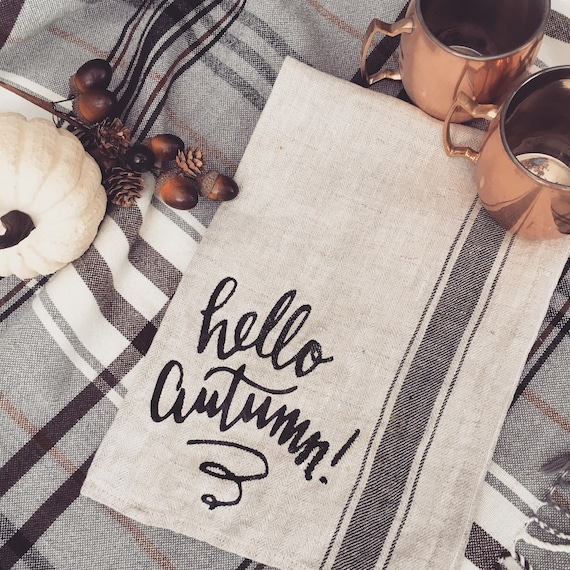 hello autumn kitchen towel fall kitchen decor fall kitchen