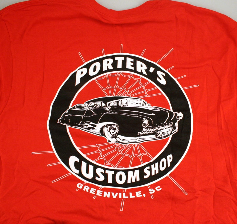 Red shirt: Porter's Custom Shop Mercury Red Shirt with Black and White  Print Small S, L Large
