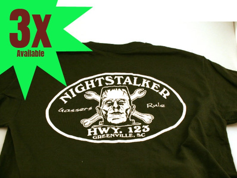 NightStalker Dark Emerald Green with White Print Edition T-Shirt Large, XL,  XXL, XXXL