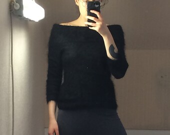 angora sweater! soft black vintage