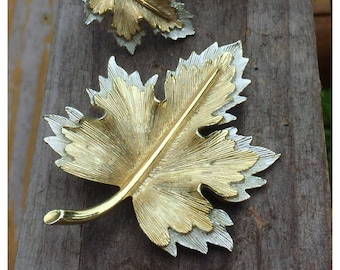 Sarah Coventry Maple Leaf Brooch & Earrings, Silver and Gold tone Maple Leaf Jewelry
