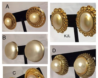 Ivory and Gold Faux Pearl Clip on Earrings, KJL, Monet, Napier, and Unsigned Clip on Earrings in Gold Tone Metal & Ivory Colored Faux Pearls