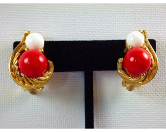 Red, White, and Gold Clip on Earrings, Vintage Clip on Earrings, Red White Earrings