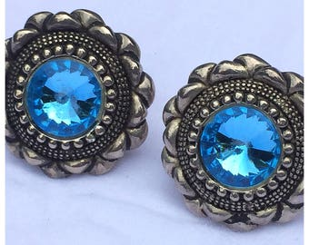 Silver and Blue Clip on Earrings, Southwest Style Earrings in blue and silver, vintage clip on earrings