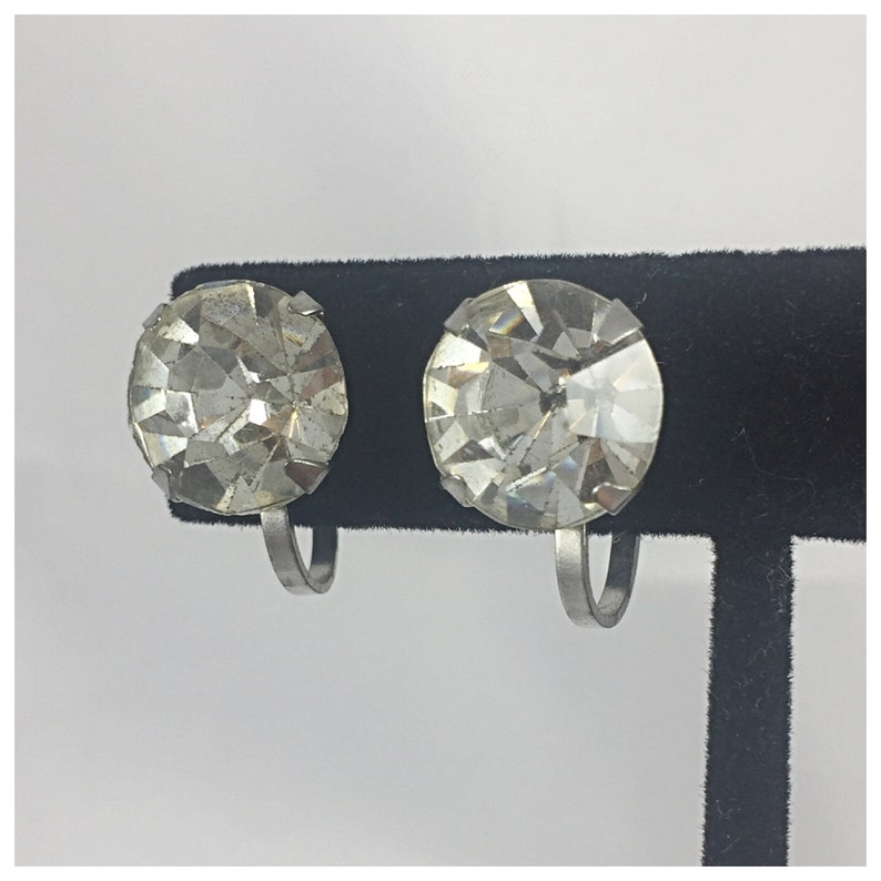 Foil Backed Glass Solitaire Screw Back Earrings Item 60 ER Large Faceted Crystal Solitaire Earrings