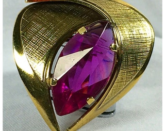 Gold and Hot Pink, Fuscia, Vintage Brooch, Modernist Brooch, Large Brooch
