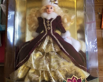 Mattel Happy Hollidays Barbie in Maroon and Gold Formal Dress