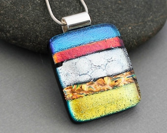 Dichroic Glass Jewelry - Colorful Pendant Necklace - Fused Glass Pendant - Handmade Jewelry - Unique Gifts For Women