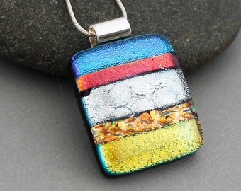 Dichroic Glass Jewelry - Colorful Pendant Necklace - Dichroic Fused Glass Pendant - Unique Jewelry - Unique Gifts For Women