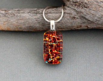 Red Necklace For Women - Christmas Gift For Girlfriend - Fused Glass Pendant - Dainty Necklace - Small Red Pendant - Dichroic Glass Jewelry
