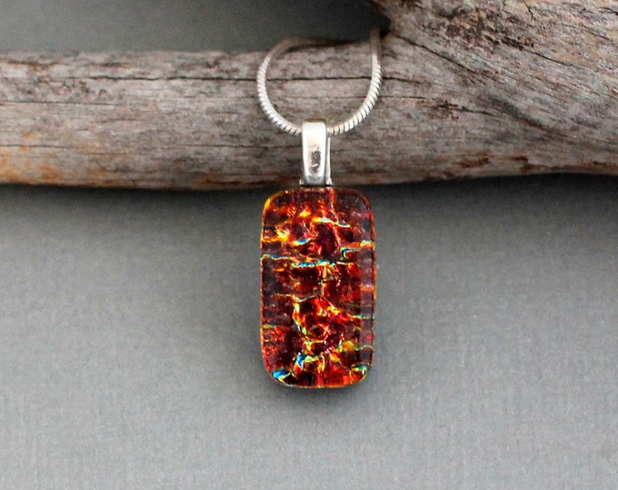 Featured listing image: Red Necklace For Women - Christmas Gift For Girlfriend - Fused Glass Pendant - Dainty Necklace - Small Red Pendant - Dichroic Glass Jewelry