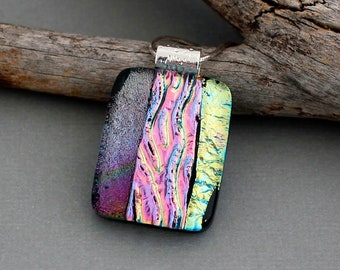 Fused Glass Pendant Necklace - Statement Necklace For Women - Dichroic Glass Jewelry - Pink Necklace  - Unique Jewelry For Women