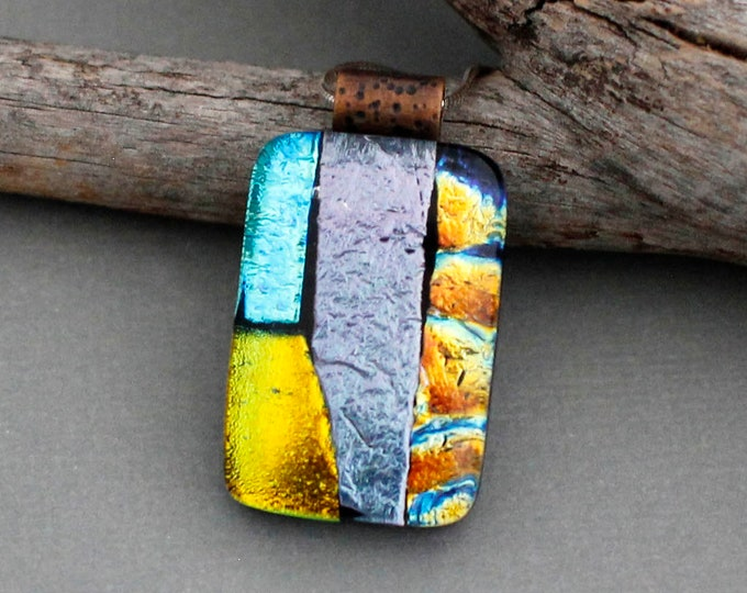 Featured listing image: Colorful Necklace Pendant - Dichroic Glass Jewelry - Fused Glass Pendant - Unique Jewelry - Unique Gifts For Women