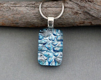 Icy Blue Dichroic Glass Pendant Necklace - Unique Necklace Pendant - Fused Glass Jewelry - Unique Jewelry For Women