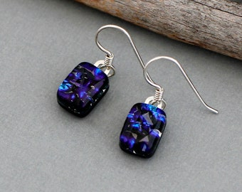 Dichroic Glass Earrings - Dark Blue Earrings - Blue Drop Earrings - Fused Glass Jewelry - Birthday Gift For Friend
