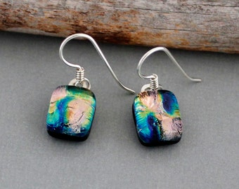 Pink and Green Dangle Earrings - Unique Gift For Women - Sterling Silver Earrings - Dichroic Glass Earrings - Fused Glass Jewelry
