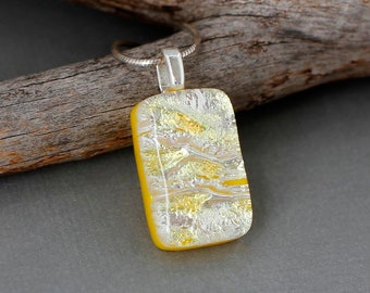 Yellow Necklace For Women - Fused Dichroic Glass Jewelry - Unique Gift