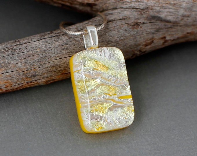 Featured listing image: Yellow Necklace For Women - Fused Dichroic Glass Jewelry - Unique Gift